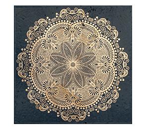 decori mattonelle con merletto in oro